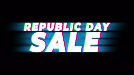 šafrán : Republic Day Sale Text Glitch Effect Promotion Advertisement Loop Background. Price Tag, Sale, Discounts, Deals, Special Offers, Green Screen and Alpha Matte