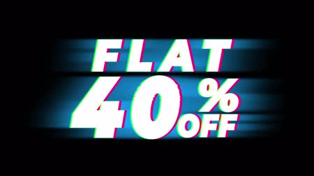 hoje : Flat 40% Percent Off Text Glitch Effect Promotion Advertisement Loop Background. Price Tag, Sale, Discounts, Deals, Special Offers, Green Screen and Alpha Matte