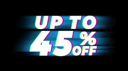 dnes : Up To 45% Percent Off Text Glitch Effect Promotion Advertisement Loop Background. Price Tag, Sale, Discounts, Deals, Special Offers, Green Screen and Alpha Matte