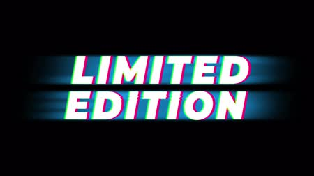prim : Limited Edition Text Glitch Effect Promotion Commercial Loop Background. Price Tag, Sale, Discounts, Deals, Special Offers, Green Screen and Alpha Matte Stok Video
