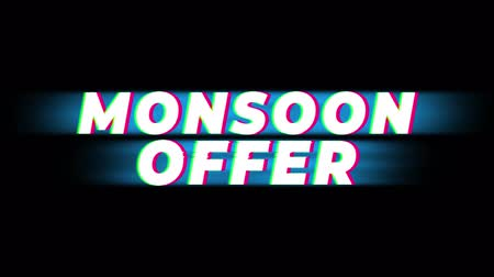 monção : Monsoon Sale Text Vintage Glitch Effect Promotion Advertisement Loop Background. Tag, Sale, Discounts, Deals, Special Offers, Green Screen and Alpha Matte Vídeos