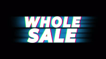 only today : Wholesale Text Glitch Effect Promotion Advertisement Loop Background. Price Tag, Sale, Discounts, Deals, Special Offers, Green Screen and Alpha Matte Stock Footage
