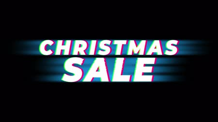 metka : Christmas Sale Text Glitch Effect Promotion Commercial Loop Background. Price Tag, Sale, Discounts, Deals, Special Offers, Green Screen and Alpha Matte Wideo