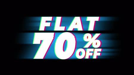 hoje : Flat 70% Percent Off Text Glitch Effect Promotion Advertisement Loop Background. Price Tag, Sale, Discounts, Deals, Special Offers, Green Screen and Alpha Matte