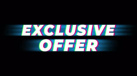 metka : Exclusive Offer Text Glitch Effect Promotion Commercial Loop Background. Price Tag, Sale, Discounts, Deals, Special Offers, Green Screen and Alpha Matte