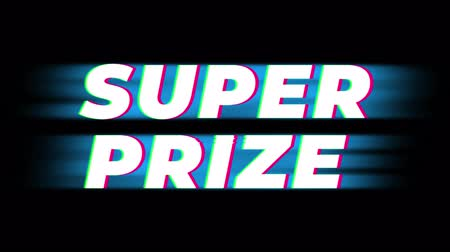první : Super Prize Text Glitch Effect Promotion Advertisement Loop Background. Price Tag, Sale, Discounts, Deals, Special Offers, Green Screen and Alpha Matte
