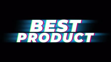 metka : Best Product Text Glitch Effect Promotion Advertisement Loop Background. Price Tag, Sale, Discounts, Deals, Special Offers, Green Screen and Alpha Matte Wideo