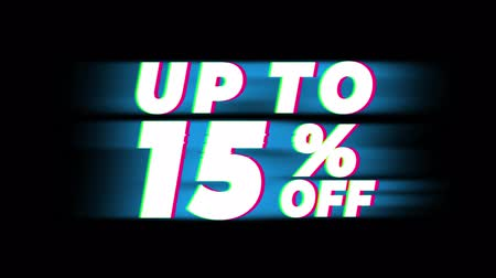 erkeklere özel : Up To 15% Percent Off Text Glitch Effect Promotion Advertisement Loop Background. Price Tag, Sale, Discounts, Deals, Special Offers, Green Screen and Alpha Matte