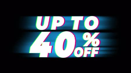 čtyřicátá léta : Up To 40% Percent Off Text Glitch Effect Promotion Advertisement Loop Background. Price Tag, Sale, Discounts, Deals, Special Offers, Green Screen and Alpha Matte