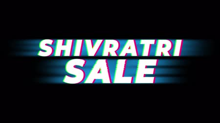cabeçalho : Shivratri Sale Text Glitch Effect Promotion Commercial Loop Background. Price Tag, Sale, Discounts, Deals, Special Offers, Green Screen and Alpha Matte