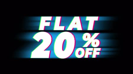 hoje : Flat 20 % Percent Off Text Glitch Effect Promotion Advertisement Loop Background. Price Tag, Sale, Discounts, Deals, Special Offers, Green Screen and Alpha Matte Vídeos