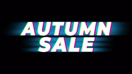 autumn discounts : Autumn Sale Text Glitch Effect Promotion Commercial Loop Background. Price Tag, Sale, Discounts, Deals, Special Offers, Green Screen and Alpha Matte