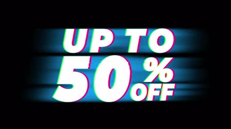 ötvenes : Up To 50 % Percent Off Text Glitch Effect Promotion Advertisement Loop Background. Price Tag, Sale, Discounts, Deals, Special Offers, Green Screen and Alpha Matte