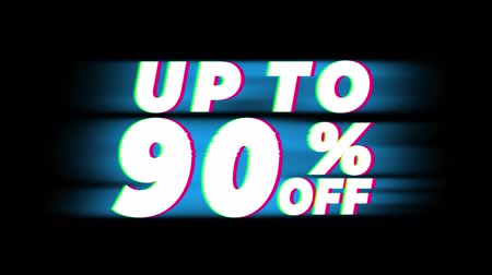 oggi : Up To 90% Percent Off Text Glitch Effect Promotion Advertisement Loop Background. Price Tag, Sale, Discounts, Deals, Special Offers, Green Screen and Alpha Matte