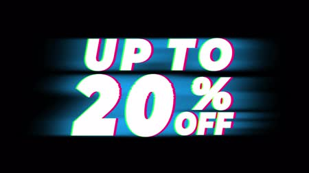 vybírání : Up To 20% Percent Off Text Glitch Effect Promotion Advertisement Loop Background. Price Tag, Sale, Discounts, Deals, Special Offers, Green Screen and Alpha Matte