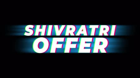 puja : Shivratri Offer Text Glitch Effect Promotion Commercial Loop Background. Price Tag, Sale, Discounts, Deals, Special Offers, Green Screen and Alpha Matte Stock Footage