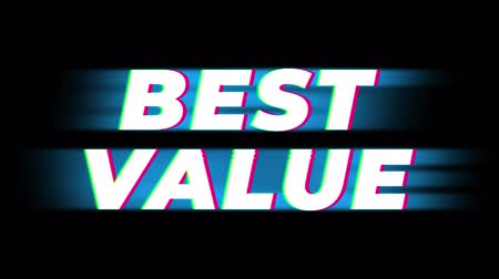 výhoda : Best Value Text Glitch Effect Promotion Advertisement Loop Background. Price Tag, Sale, Discounts, Deals, Special Offers, Green Screen and Alpha Matte