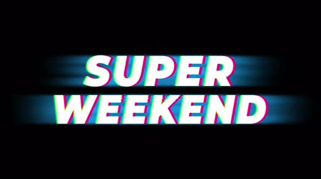 cupom : Super Weekend Text Glitch Effect Promotion Advertisement Loop Background. Price Tag, Sale, Discounts, Deals, Special Offers, Green Screen and Alpha Matte Stock Footage