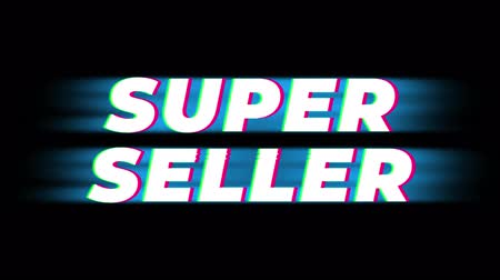 celkový : Super Seller Text Glitch Effect Promotion Advertisement Loop Background. Price Tag, Sale, Discounts, Deals, Special Offers, Green Screen and Alpha Matte