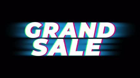 soon : Grand Sale Text Glitch Effect Promotion Advertisement Loop Background. Price Tag, Sale, Discounts, Deals, Special Offers, Green Screen and Alpha Matte Stock Footage