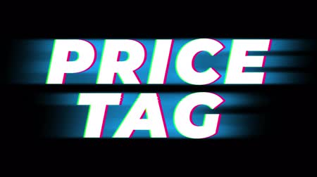 odznak : Price Tag Text Glitch Effect Promotion Advertisement Loop Background. Price Tag, Sale, Discounts, Deals, Special Offers, Green Screen and Alpha Matte