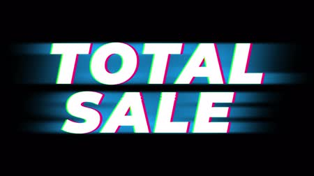 metka : Total Sale Text Glitch Effect Promotion Advertisement Loop Background. Price Tag, Sale, Discounts, Deals, Special Offers, Green Screen and Alpha Matte Wideo
