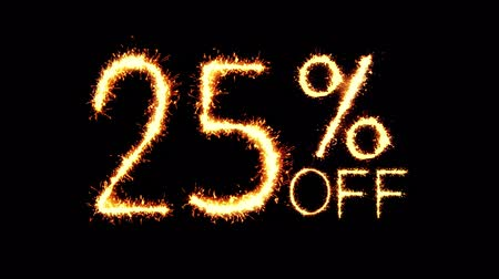 hoje : 25% Off Text Sparkler Writing With Glitter Sparks Particles Firework on Black 4K Loop Background. Sale, discount Off, Offer, business promotion , advertisement .