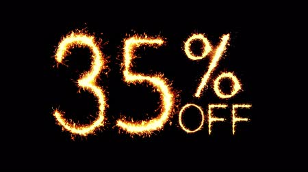 hoje : 35% Off Text Sparkler Writing With Glitter Sparks Particles Firework on Black 4K Loop Background. Sale, discount Off, Offer, business promotion , advertisement . Vídeos