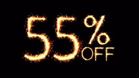 only today : 55% Off Text Sparkler Writing With Glitter Sparks Particles Firework on Black 4K Loop Background. Sale, discount Off, Offer, business promotion , advertisement .