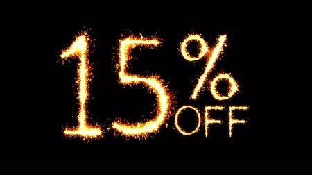 procent : 15% Off Text Sparkler Writing With Glitter Sparks Particles Firework on Black 4K Loop Background. Sale, discount Off, Offer, business promotion , advertisement . Wideo