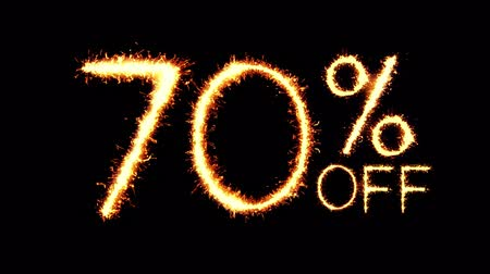 only today : 70% Off Text Sparkler Writing With Glitter Sparks Particles Firework on Black 4K Loop Background. Sale, discount Off, Offer, business promotion , advertisement .