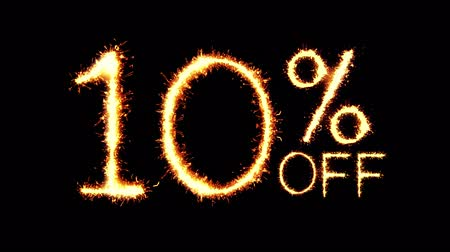 only today : 10% Off Text Sparkler Writing With Glitter Sparks Particles Firework on Black 4K Loop Background. Sale, discount Off, Offer, business promotion , advertisement .