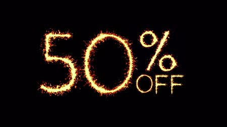only today : XXX50% Off Text Sparkler Writing With Glitter Sparks Particles Firework on Black 4K Loop Background. Sale, discount Off, Offer, business promotion , advertisement .