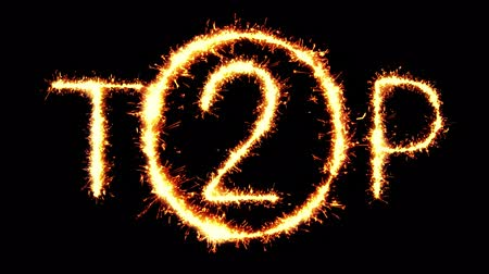 hodnost : TOP 2 Text Sparkler Writing With Glitter Sparks Particles Firework on Black 4K Loop Background. Greeting card, Invitation, Celebration, Party, Gift, Message, Wishes, Festival. Dostupné videozáznamy