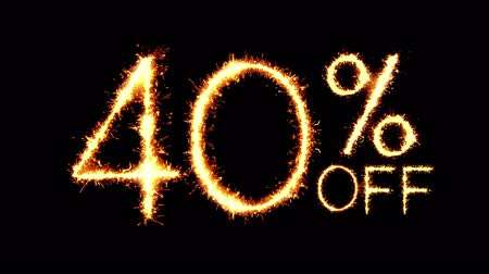 čtyřicet : 40% Off Text Sparkler Writing With Glitter Sparks Particles Firework on Black 4K Loop Background. Sale, discount Off, Offer, business promotion , advertisement .