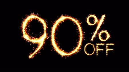 only today : 90% Off Text Sparkler Writing With Glitter Sparks Particles Firework on Black 4K Loop Background. Sale, discount Off, Offer, business promotion , advertisement . Stock Footage