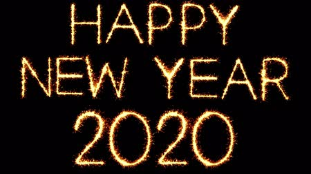cny : Happy New Year 2020 Text Sparkler Writing With Glitter Sparks Particles Firework on Black 4K Loop Background. Greeting card, Invitation, Celebration, Party, Gift, Message, Wishes, Festival.