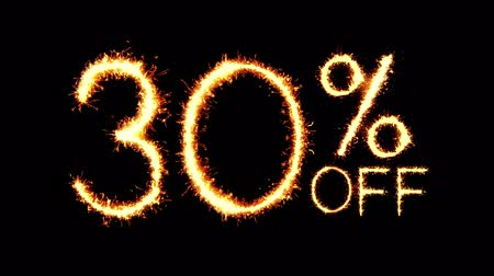 otuzlu yıllar : 30% Off Text Sparkler Writing With Glitter Sparks Particles Firework on Black 4K Loop Background. Sale, discount Off, Offer, business promotion , advertisement . Stok Video
