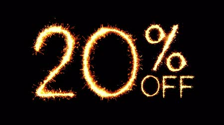 dnes : 20% Off Text Sparkler Writing With Glitter Sparks Particles Firework on Black 4K Loop Background. Sale, discount Off, Offer, business promotion , advertisement .