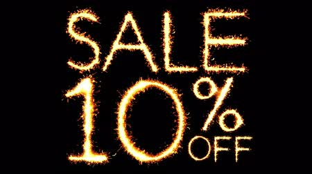 only today : Sale 10 Off Text Sparkler Writing With Glitter Sparks Particles Firework on Black 4K Loop Background. Sale, discount Off, Offer, business promotion , advertisement .