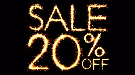 only today : Sale 20 Off Text Sparkler Writing With Glitter Sparks Particles Firework on Black 4K Loop Background. Sale, discount Off, Offer, business promotion , advertisement .