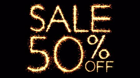 fifty : Sale 70 Off Text Sparkler Writing With Glitter Sparks Particles Firework on Black 4K Loop Background. Sale, discount Off, Offer, business promotion , advertisement .
