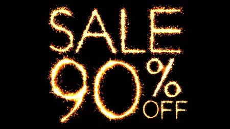 only today : Sale 90 Off Text Sparkler Writing With Glitter Sparks Particles Firework on Black 4K Loop Background. Sale, discount Off, Offer, business promotion , advertisement .