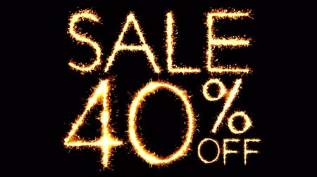 desconto : Sale 40 Off Text Sparkler Writing With Glitter Sparks Particles Firework on Black 4K Loop Background. Sale, discount Off, Offer, business promotion , advertisement . Vídeos