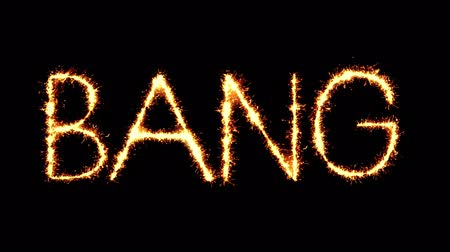 comics pop : Bang Text Sparkler Writing With Glitter Sparks Particles Firework on Black 4K Loop Background. Greeting card, Invitation, Celebration, Party, Gift, Message, Wishes, Festival.