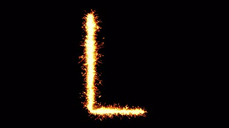 betűrendes : Alphabet L Text Sparkler Writing With Glitter Sparks Particles Firework on Black 4K Loop Background. letter , alphabet , typography , Typeface , Font , character .