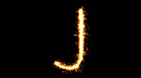 caracteres : Alphabet J Text Sparkler Writing With Glitter Sparks Particles Firework on Black 4K Loop Background. letter , alphabet , typography , Typeface , Font , character . Stock Footage