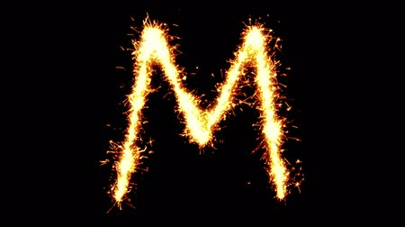 sziám : Alphabet M Text Sparkler Writing With Glitter Sparks Particles Firework on Black 4K Loop Background. letter , alphabet , typography , Typeface , Font , character .