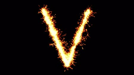strojopis : Alphabet V Text Sparkler Writing With Glitter Sparks Particles Firework on Black 4K Loop Background. letter , alphabet , typography , Typeface , Font , character . Dostupné videozáznamy
