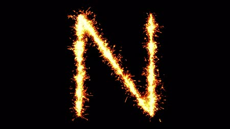 caracteres : Alphabet N Text Sparkler Writing With Glitter Sparks Particles Firework on Black 4K Loop Background. letter , alphabet , typography , Typeface , Font , character .